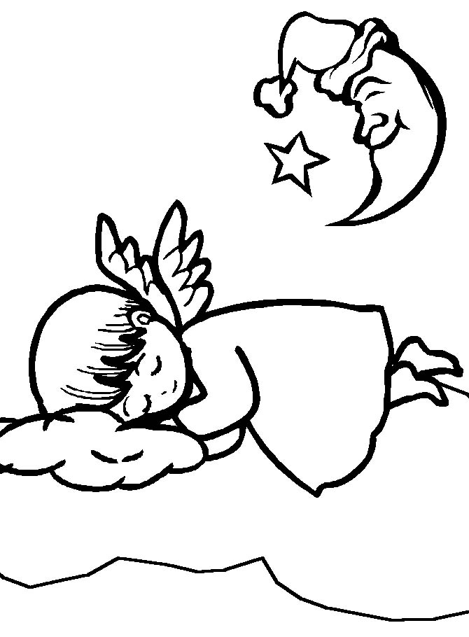Angelo sdraiato for Disegni di angeli da colorare per bambini