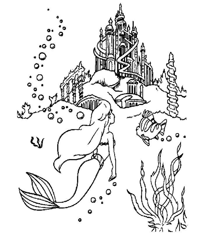 Ariel 3 disegni per bambini da colorare for La sirenetta da stampare