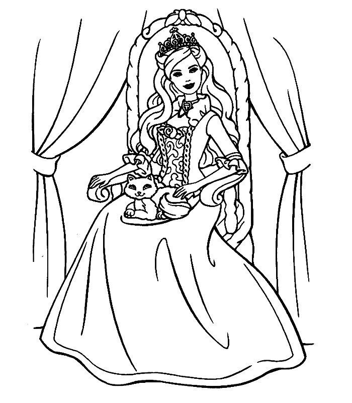 Barbie cuore principessa disegni per bambini da colorare for Disegni barbie da colorare gratis