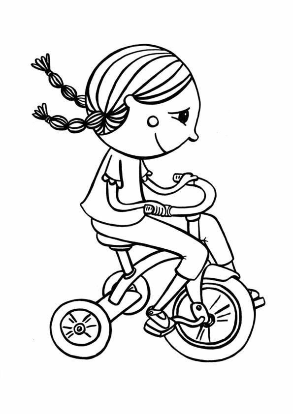 Biciclette disegni per bambini da colorare for Disegno bambina da colorare