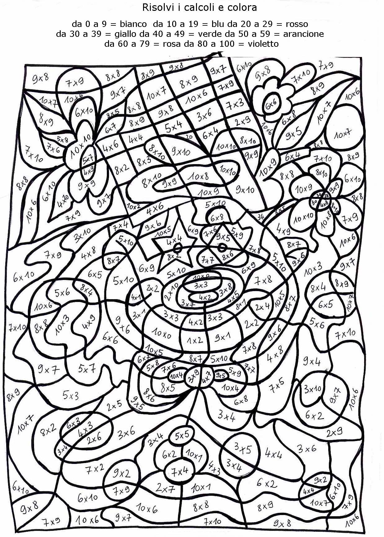 Calcola colora 2 disegni per bambini da colorare for Disegno terra da colorare