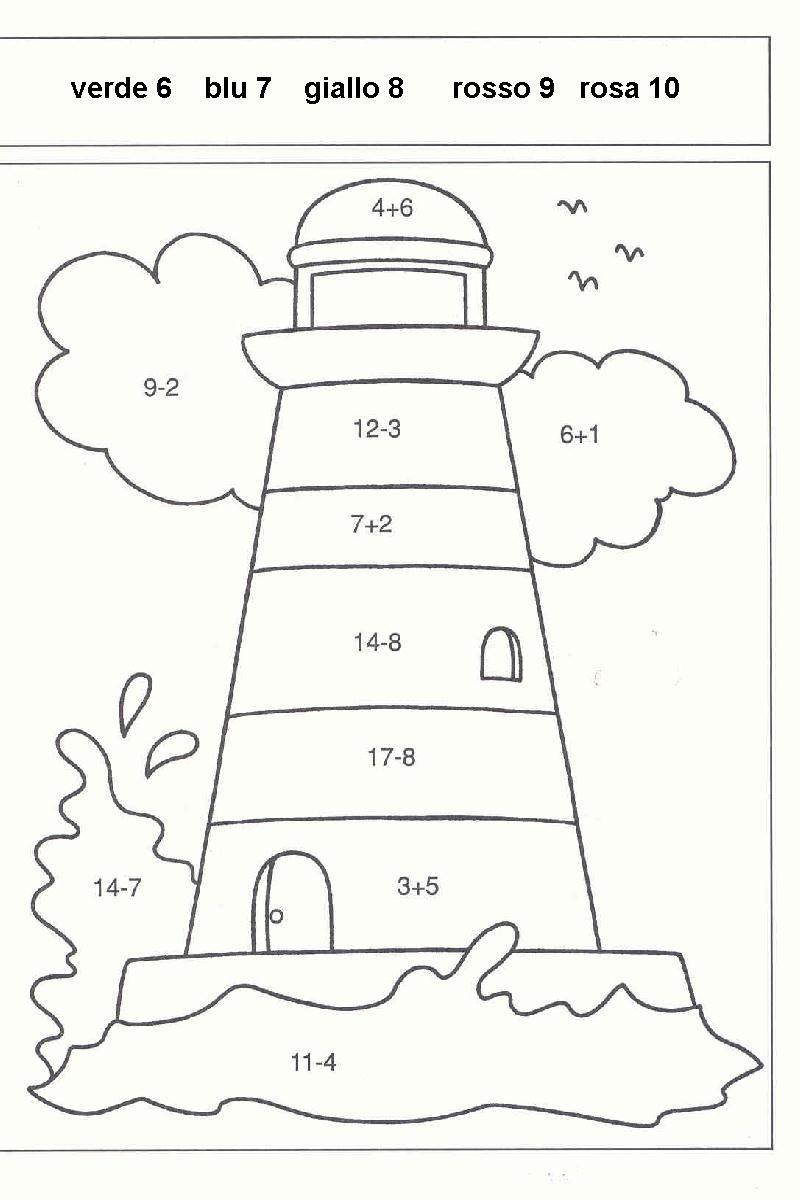 Estremamente Calcola Colora, Disegni per bambini da colorare RY06