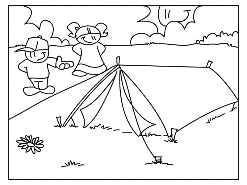 Camping disegni per bambini da colorare - Ragazzi da colorare in immagini ...