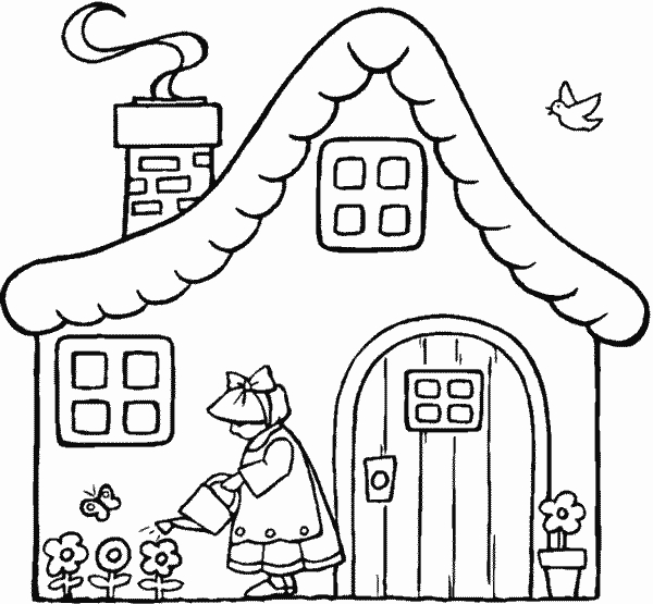 Case 5 disegni per bambini da colorare for Disegni case singole