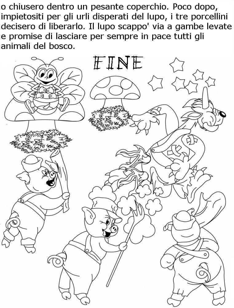 Colora fiaba tre porcellini 4 disegni per bambini da colorare - Immagini di colorare le pagine del libro da colorare ...