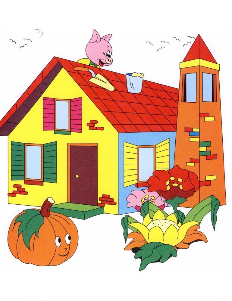Disegni fiaba da colorare i tre porcellini 1 disegni per for Casa disegno