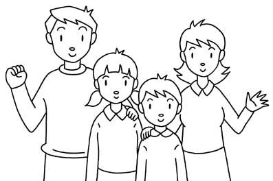 Famiglia 4 Disegni Per Bambini Da Colorare