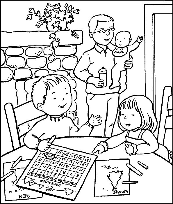 Famiglia disegni per bambini da colorare - Disegni di casa da colorare per bambini ...