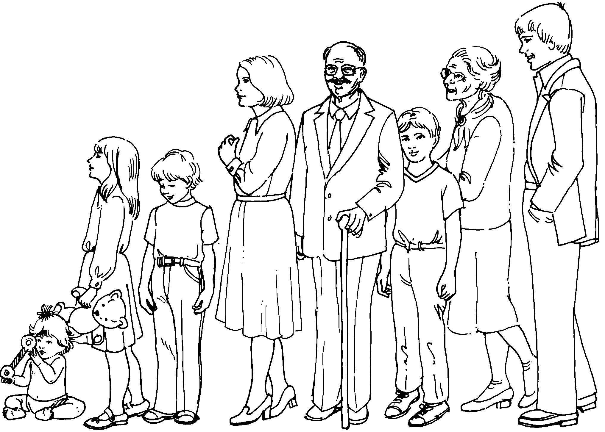 Famiglia 11 disegni per bambini da colorare - Coloriage de la famille ...