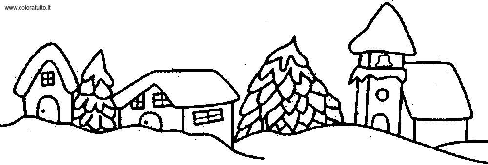 Inverno 2 disegni per bambini da colorare for Paesaggio invernale disegno