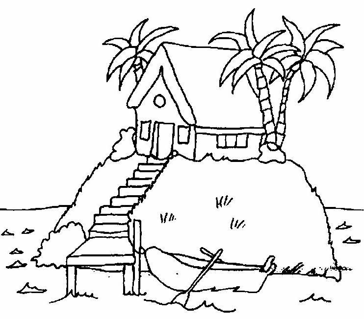 isola, disegni per bambini da colorare - Disegni Case Bambini