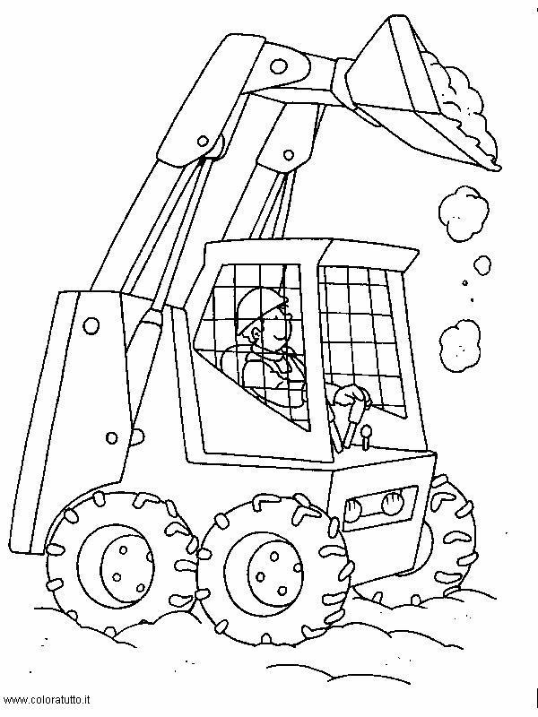 Escavatori Da Colorare.Mezzi Pesanti Disegni Per Bambini Da Colorare