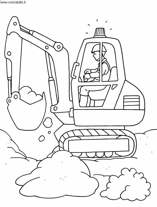 Disegni Da Colorare Per Bambini Escavatori.Mezzi Pesanti 2 Disegni Per Bambini Da Colorare