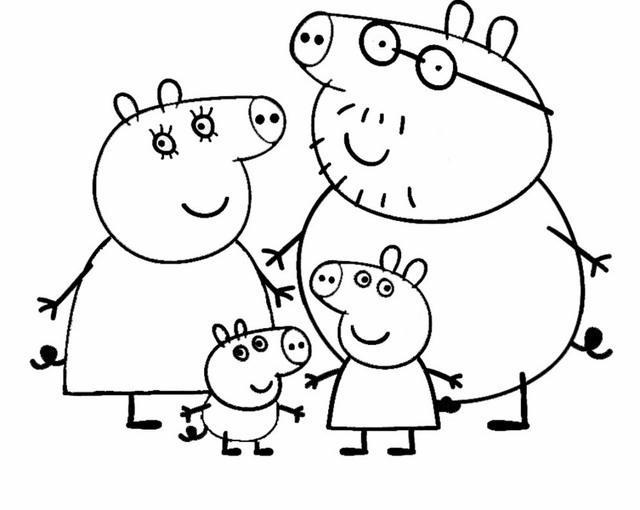 peppa pig 5 disegni per bambini da colorare