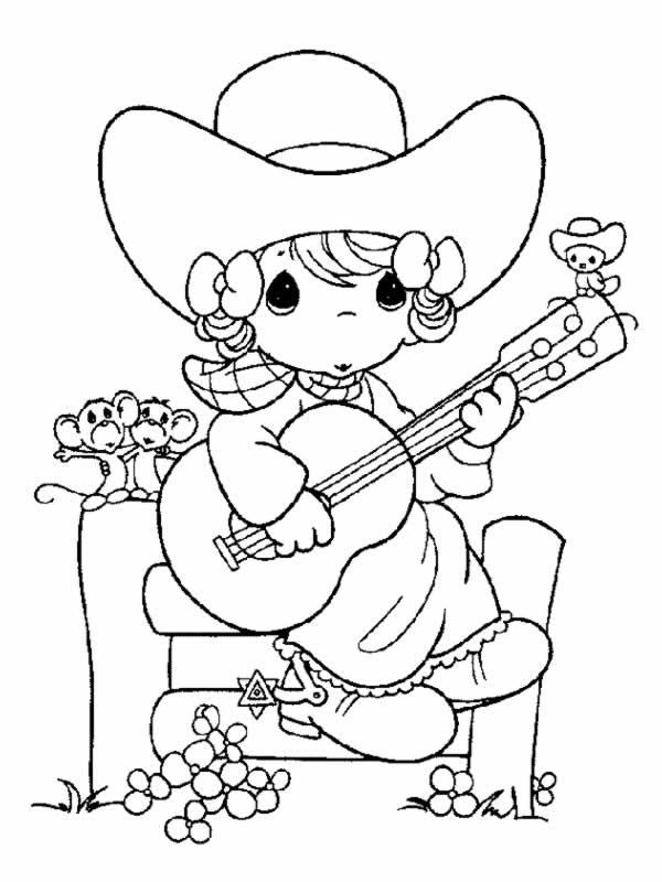 Precious moments 3 disegni per bambini da colorare - Pagina da colorare per chitarra ...