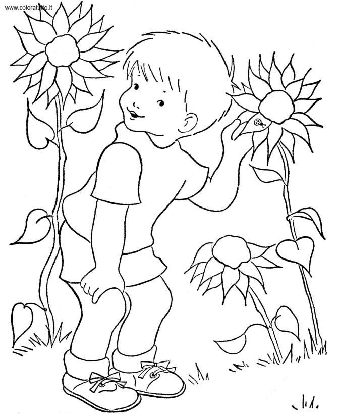 Primavera 12 disegni per bambini da colorare for Disegni di girasoli da colorare